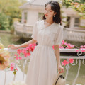 Dress Summer 2021 white S,M,L Mid length dress singleton  Short sleeve Doll Collar Elastic waist Solid color Socket A-line skirt other 18-24 years old Type A Auricularia auricula, button TS2731