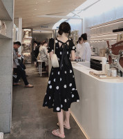 Dress Summer of 2019 Off white, black S,M,L Miniskirt singleton  Short sleeve commute square neck High waist Dot A-line skirt Princess sleeve Others 51% (inclusive) - 70% (inclusive) other