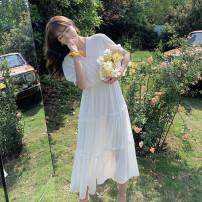 Dress Summer 2020 White, broken flowers Average size Miniskirt singleton  Short sleeve commute V-neck middle-waisted Broken flowers Socket Ruffle Skirt routine Korean version 81% (inclusive) - 90% (inclusive) Chiffon