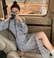Dress Spring 2021 Picture color in stock S,M,L Mid length dress singleton  Long sleeves commute V-neck High waist Leopard Print A-line skirt routine Others Type A Retro Hollow out, asymmetric, button, print 91% (inclusive) - 95% (inclusive) polyester fiber