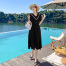 Dress Summer 2021 black S,M,L,XL,2XL singleton  Short sleeve V-neck High waist Solid color A-line skirt routine Others 25-29 years old Type A Other / other polyester fiber