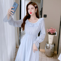 Dress Spring 2021 White, blue, yellow S,M,L,XL Middle-skirt singleton  Long sleeves commute Crew neck Elastic waist Solid color Socket A-line skirt routine 25-29 years old Type A Lotus leaf edge 3278 spot Chiffon nylon