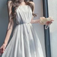 Dress Summer 2021 White drawstring dress black drawstring dress S M L XL longuette singleton  Sleeveless Sweet One word collar High waist Solid color Socket A-line skirt other camisole 18-24 years old Type A Make up Gina Lace up ZJN503 More than 95% other Other 100% princess