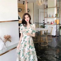 Dress Summer 2021 Green floral dress Yellow Floral Dress S M L XL longuette singleton  Short sleeve commute V-neck High waist Broken flowers Socket A-line skirt Wrap sleeves Others 18-24 years old Type A Make up Gina Korean version Bow print ZJN490 More than 95% other Other 100%