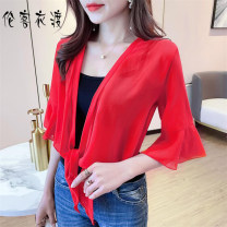 Lace / Chiffon Summer 2021 M,L,XL,2XL three quarter sleeve Versatile Cardigan singleton  easy have cash less than that is registered in the accounts V-neck Solid color pagoda sleeve 25-29 years old Lunkeyidu Frenulum 96% and above