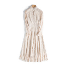 Dress Summer 2021 Apricot, black, pink S,M,L,XL,2XL singleton  Long sleeves commute Half high collar High waist Solid color Socket routine 25-29 years old Ocnltiy Buttons, lace, tassels, sequins More than 95% other