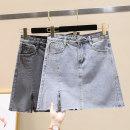 skirt Summer 2020 S,M,L,XL Light blue, smoke grey Short skirt commute High waist A-line skirt Solid color Type A 18-24 years old Ocnltiy Pocket, button, zipper, stitching Korean version
