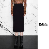 skirt Spring 2021 S M black longuette commute High waist skirt Solid color Type H 25-29 years old KLW20B0906320 - seventy-six thousand eight hundred and twenty - seventy thousand nine hundred and seventy-one 31% (inclusive) - 50% (inclusive) knitting Karl Lagerfeld Viscose Splicing Korean version