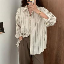 shirt Apricot stripe S M L XL Spring 2021 other 96% and above Long sleeves commute Regular Polo collar other routine stripe 18-24 years old Straight cylinder Injoya Retro Other 100% Pure e-commerce (online only)