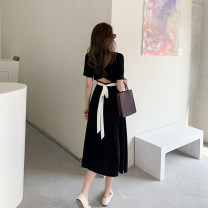 Dress Summer 2021 black S,M,L,XL longuette singleton  Short sleeve commute Crew neck High waist Solid color Socket A-line skirt routine Others 18-24 years old Type A Other / other Retro Frenulum 2321# Chiffon polyester fiber