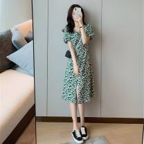 Dress Summer 2021 Floral skirt, floral skirt S,M,L,XL Middle-skirt Short sleeve Sweet V-neck middle-waisted Decor Irregular skirt Others Other / other 6197 # [net map] 51% (inclusive) - 70% (inclusive) Chiffon princess