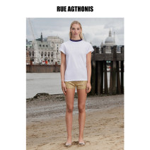 T-shirt white XS S M L XL Summer 2021 Short sleeve Crew neck Straight cylinder Regular routine commute cotton 96% and above 25-29 years old Simplicity youth Solid color Cotton 100% Same model in shopping mall (sold online and offline)