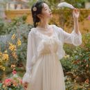 Lace / Chiffon Spring 2021 White (single piece) S,M,L,XL Cardigan singleton  easy V-neck Auricularia auricula, fold, solid color