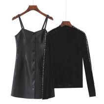 Dress Autumn 2020 Top, leather skirt, plush top S,XL,2XL,L,M Short skirt Long sleeves commute High waist Socket A-line skirt other Others 18-24 years old Type A Bead, button, mesh, zipper