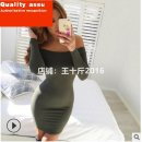 Dress Winter of 2019 S,M,L,XL Short skirt singleton  Long sleeves street One word collar middle-waisted Solid color Socket Pencil skirt routine Others 18-24 years old Type A Other / other knitting polyester fiber Europe and America