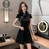 Dress Summer 2021 black S M L XL 2XL 3XL Short skirt singleton  Short sleeve commute stand collar middle-waisted Solid color A-line skirt routine Others 25-29 years old Honey storehouse Retro More than 95% polyester fiber Polyester 97.0% polyurethane elastic fiber (spandex) 3.0%