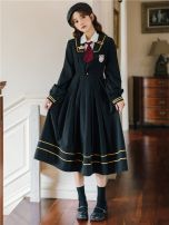 Dress Spring 2021 Regular shirt with black JK dress and tie S,M,L,XL longuette Two piece set Long sleeves Sweet Admiral High waist Solid color Socket Pleated skirt routine Others 18-24 years old Type A 51% (inclusive) - 70% (inclusive) brocade college