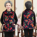 Middle aged and old women's wear Winter of 2019 No.1 (hongdahua), No.2 (landahua), No.3 (qingxiaohua), No.4 (zixiaohua) XL (about 100 kg recommended), 2XL (about 115 kg recommended), 3XL (about 130 kg recommended), 4XL (about 145 kg recommended), 5XL (about 150 kg recommended) Happiness Vest easy
