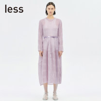 Dress Spring 2020 532 / Pink 404 / Midnight Blue 005 / near black 001 / Ben black XS S M L XL Mid length dress Two piece set Long sleeves commute Crew neck other routine Others 30-34 years old LESS Simplicity 51% (inclusive) - 70% (inclusive) polyester fiber Polyester 61% triacetate 39%