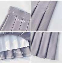 skirt Autumn 2020 S,M,L,XL,2XL Short skirt Versatile High waist Pleated skirt Solid color Type A 888-2