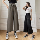 Casual pants Khaki black army green S M L XL 2XL Summer 2021 Ninth pants Wide leg pants High waist commute Thin money 25-29 years old H - five thousand one hundred and fifty-two Han Guifu Korean version belt Other 100% Pure e-commerce (online only)