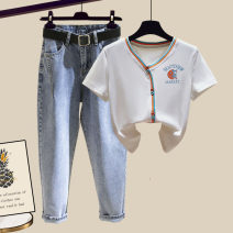 Fashion suit Summer 2020 S M L XL White T-shirt black T-shirt orange T-shirt cyan T-Shirt Blue jeans white T-shirt + blue jeans two sets black T-shirt + blue jeans two sets orange T-shirt + blue jeans two sets cyan T-shirt + blue jeans two sets 18-25 years old Famous for silk 0315-18.03 Other 100%