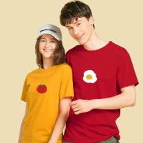 T-shirt Black (tomato) Short Sleeve White (tomato) short sleeve ginger (tomato) Short Sleeve Black (egg) Short Sleeve White (egg) short sleeve dark red (egg) short sleeve XS S M L XL XXL Spring 2021 Short sleeve Crew neck easy Regular routine commute cotton 96% and above 18-24 years old originality