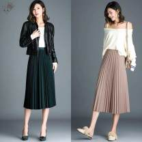 skirt Spring 2021 S suggests below 95 kg, m suggests 95-110 kg, l suggests 110-125 kg, XL suggests 125-140 kg, 2XL suggests 140-160 kg Black - 510, malachite green - 254, skin pink - k0t, apricot - wy5, gray - 412, khaki - 007 Mid length dress High waist Pleated skirt 8921C907 Pleated, pleated, solid