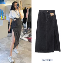 skirt Spring 2021 S,M,L Black, blue Mid length dress commute High waist A-line skirt Solid color Type A 25-29 years old 51% (inclusive) - 70% (inclusive) other polyester fiber Korean version