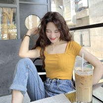 Square Dance Top Yellow, black, white, purple, blue, rose red, green, collection and purchase priority delivery S,M,L,XL female Short sleeve Self cultivation Splicing other