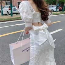 Square dance suit Other S,M,L Top piece, skirt piece, top + skirt two piece set female Two piece set Short sleeve bow