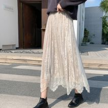 skirt Winter of 2019 Average size Apricot (one side wear), black (one side wear), coffee (one side wear), apricot (two sides wear), black (two sides wear), blue gray (two sides wear) Mid length dress Versatile High waist Pleated skirt Type A ML-DY5089 Other / other Asymmetry, lace