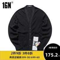 T-shirt / sweater 16N Youth fashion black 48A 52A 50A 54A 56A routine Cardigan V-neck Long sleeves autumn Slim fit Wool 50% polyacrylonitrile fiber (acrylic fiber) 50% leisure time tide youth routine Solid color Spring of 2018 No iron treatment