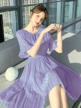 Dress Summer 2020 violet S,M,L,XL Middle-skirt singleton  Short sleeve commute Doll Collar High waist Solid color Socket A-line skirt pagoda sleeve Others 30-34 years old Other Korean version Bow, fold 20530 purple More than 95% other