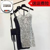 Dress Spring of 2019 Silver, black, gold, white Average size Short skirt singleton  Sleeveless commute V-neck High waist Solid color Socket One pace skirt routine camisole 18-24 years old Type H Other / other Korean version Backless, stitching, sequins 31% (inclusive) - 50% (inclusive) other