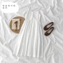Dress Summer 2020 White fashion back hanging skirt-h86, black fashion back hanging skirt-738 S,M,L,XL,2XL Mid length dress singleton  Sleeveless Button, button