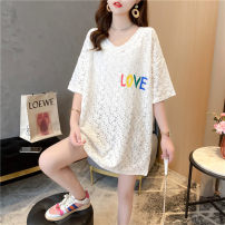Women's large Spring 2021 white M (suitable for 80-110 kg), l (for 111-140 kg), XL (for 141-170 kg), XXL (for 171-200 kg) T-shirt singleton  commute easy thin Socket Short sleeve Plants, flowers, letters, abstract patterns Korean version V-neck Medium length Three dimensional cutting routine