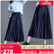 skirt Autumn 2020 75cm,80cm One size black (lined), one size gray (lined), one size royal blue (lined), one size coffee (lined), one size champagne (lined), one size denim blue (lined), one size army green (lined) Mid length dress commute High waist Pleated skirt Solid color Type A 25-29 years old