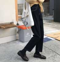Women's large Winter 2020, autumn 2020 Black [regular version], black [fleece thickening], 1235 black [regular], 1235 black [fleece thickening], [free trial wear with freight insurance] trousers singleton  commute easy moderate Solid color Korean version Denim Three dimensional cutting Other / other