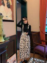 skirt Winter 2020 Average size Black Polka Dot strap skirt longuette Sweet High waist 18-24 years old princess