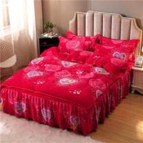 Bed skirt 1.8 bed lace 4-piece quilt cover 200x230, 1.5 bed lace 4-piece quilt cover 200x230, 2.0 bed lace 4-piece quilt cover 200x230, 2.2 bed lace 4-piece quilt cover 220x240, 1.2 bed lace 3-piece quilt cover 150x200 polyester fiber Other / other Plants and flowers First Grade