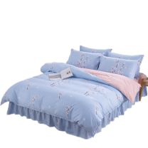 Bedding Set / four piece set / multi piece set cotton Quilting Plants and flowers 128x68 Unrestrained cotton 4 pieces 40 Bed skirt Qualified products Princess style 100% cotton twill Reactive Print