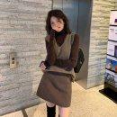 Women's large Autumn 2020 Top + Vest + skirt Large L, large XL, s, M Three piece set commute Long sleeves Solid color Korean version V-neck longuette