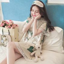 Nightdress Sanfu M,L,XL,XXL Sweet Long sleeves pajamas Short skirt summer Plants and flowers youth Crew neck printing SY