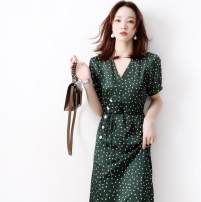 Dress Summer 2020 Green, beige S,M,L,XL Mid length dress singleton  Short sleeve commute V-neck High waist other routine Others Other / other Ol style jet-4854504 More than 95% polyester fiber