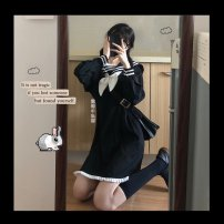 Dress Autumn 2020 Black [small gift from collection shop] S,M,L,XL,2XL Middle-skirt singleton  Long sleeves Admiral A-line skirt shirt sleeve Other / other Bow, lotus, Auricularia auricula YXwmSZja