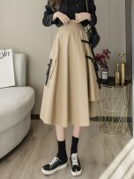 skirt Spring 2021 S,M,L,XL,2XL Black, Khaki Mid length dress commute High waist A-line skirt 18-24 years old ANNA-2096707-21 91% (inclusive) - 95% (inclusive) Other / other polyester fiber Korean version