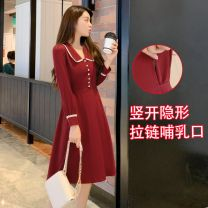 Nursing clothes Black [lactation] - 34z, red [lactation] - 590, black [women's clothing] - 796, red [women's clothing] - 239 M,L,XL,2XL Other / other Socket spring and autumn Long sleeves Medium length Korean version Dress Solid color Side opening polyester