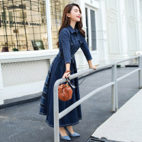 Dress Autumn 2020 Picture color S M L XL XXL Mid length dress singleton  three quarter sleeve commute Polo collar High waist Solid color Single breasted Big swing routine Others 25-29 years old Type A TDCH Korean version Pocket panel button T19C5869 71% (inclusive) - 80% (inclusive) Denim cotton