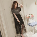 Women's large Summer 2020 Grey Top + net skirt S=1,M=2,L=3,XL=4,XXL=5 Dress Two piece set commute Self cultivation moderate Socket Short sleeve Solid color Korean version Crew neck Medium length routine Medium length other